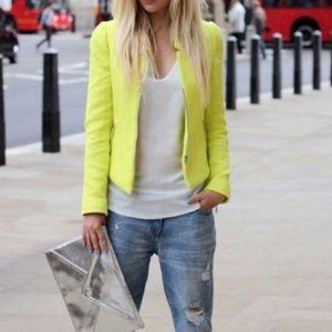 Zara Neon Tweed Button Up Blazer.  Size Large